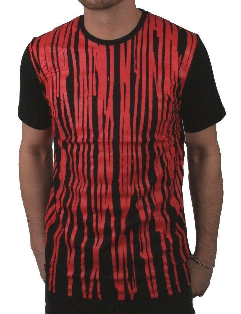 Dope Kontur Herren Schwarz Blut Rot Überlauf Farbe Tropf Grafik T-Shirt