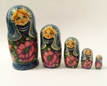 """5 Piece Nesting Dolls Hand Painted Wood Woman Flowers Vintage Collectible 7.5"""""""