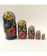 5 Piece Nesting Dolls Hand Painted Wood Woman Flowers Vintage Collectibl... - $40.00