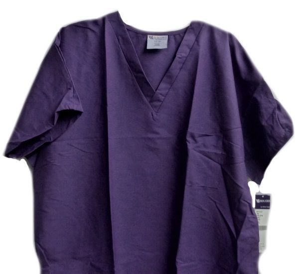 Purple Scrub Top 2XL Working Scrubs White Swan V Neck Chest Pocket Unisex New image 2