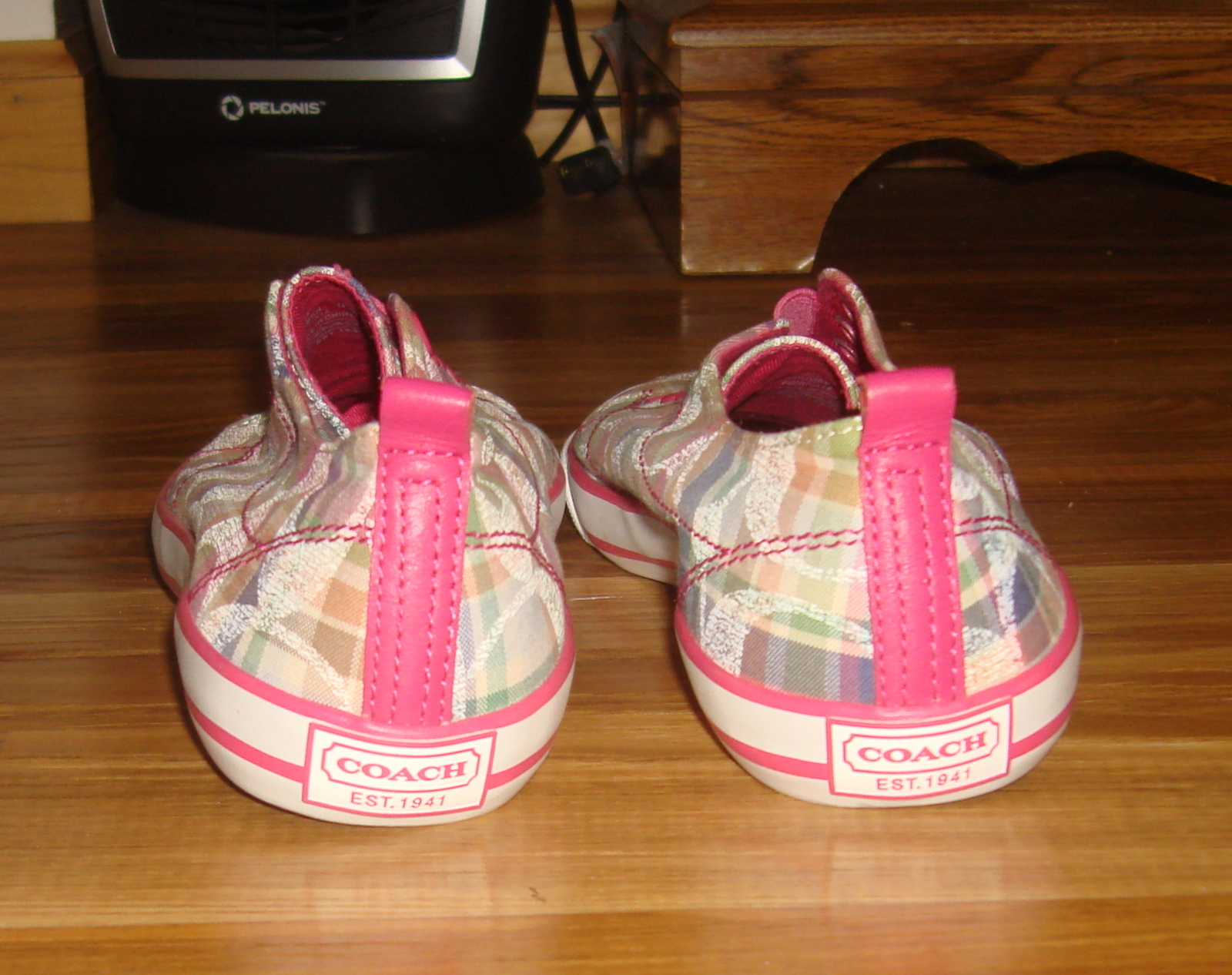 Authentic Coach Katie Poppy Plaid Slip On Sneakers~8.5~