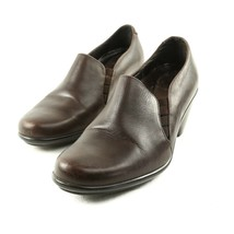 Dansko Brown Leather High Heel Loafers Slip On Shoes Womens 38 US 7.5 to 8 - $34.50