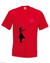 Mens T-Shirt Banksy Girl Heart Balloon, Lonely Girl tShirt Romantic Love Shirt - $24.74