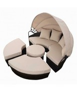 72 Inch Large Outdoor Daybed With Canopy Stylish Patio Pool Rattan Sofa ... - $765.99