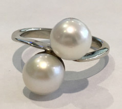 14k White Gold Double Pearl Ring – Size 6 - $235.00
