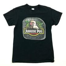 JURASSIC PUG Dog Shirt Size Small Black Animal Tee Movie Motif Mans Best... - $10.47