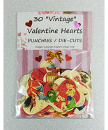 """30 """"Vintage"""" Valentine Hearts, Punchies / Die Cuts  MADE TO ORDER - $3.91"""