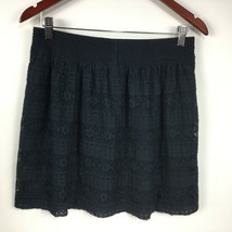 H & M Women Skirt Lace Above Knee Full Flare Navy Size M - $13.78