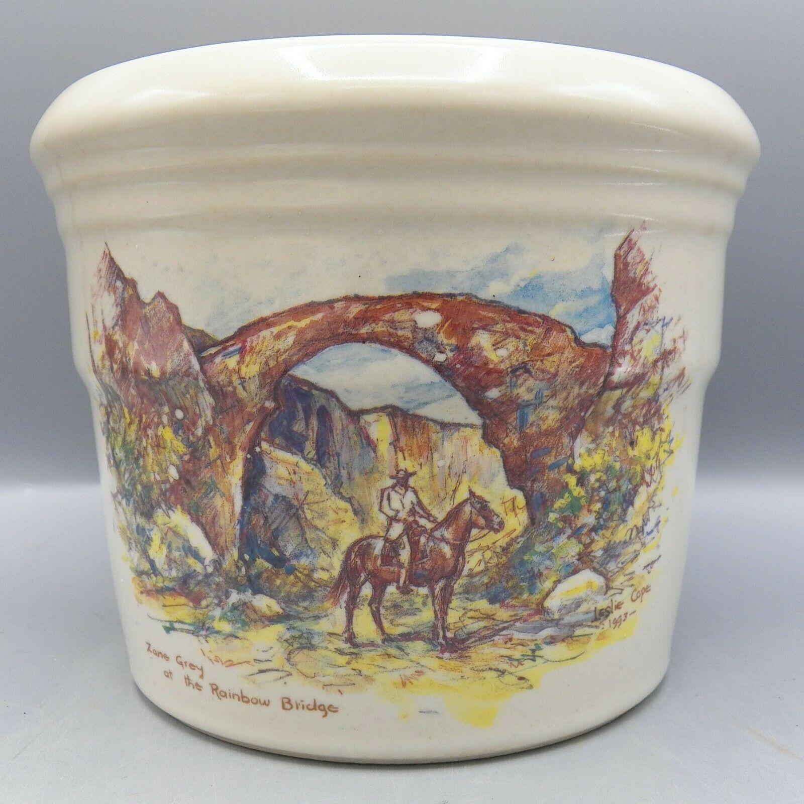Zanesville Stoneware Zane Grey At Rainbow Bridge Leslie Cope Vase Pot Pottery image 2