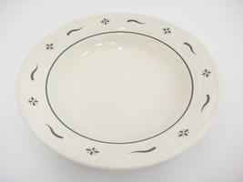 "Longaberger Green Woven Traditions Rim Soup Bowl 8"" Pottery USA Very Good - $12.86"