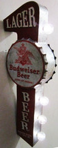 Budweiser Lager Beer Flange Metal Can Sign - $49.95
