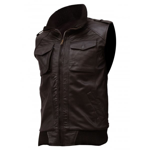 QASTAN Men's New Brown Soft Bomber Superb Motorbike Leather Moto Vest QMV04 image 2