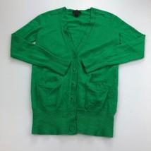 J. Crew Cardigan Sweater Womens XS Green 65370 Pockets V-Neck Merino Woo... - $25.57 CAD