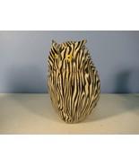 Owl Figurine Zebra Striped Yellow Eyes Weird Ceramic - $6.58