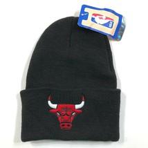 Vintage Chicago Bulls Black Red Logo Beanie Hat Acrylic Adidas NBA NWT - $12.20