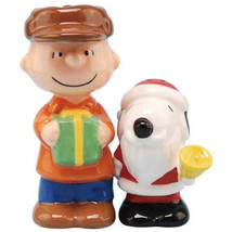 Peanuts Snoopy as Santa with Charlie Brown Ceramic Salt and Pepper Set NEW - $27.08