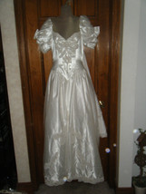 Vintage 1980's Satin Beaded & Sequined Wedding Gown w/Attached Train - S... - $107.03