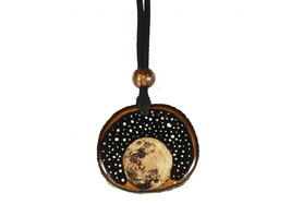 Resin and Wood, Handmade Necklace with Wood Burning Moon and Sky View - $100.00