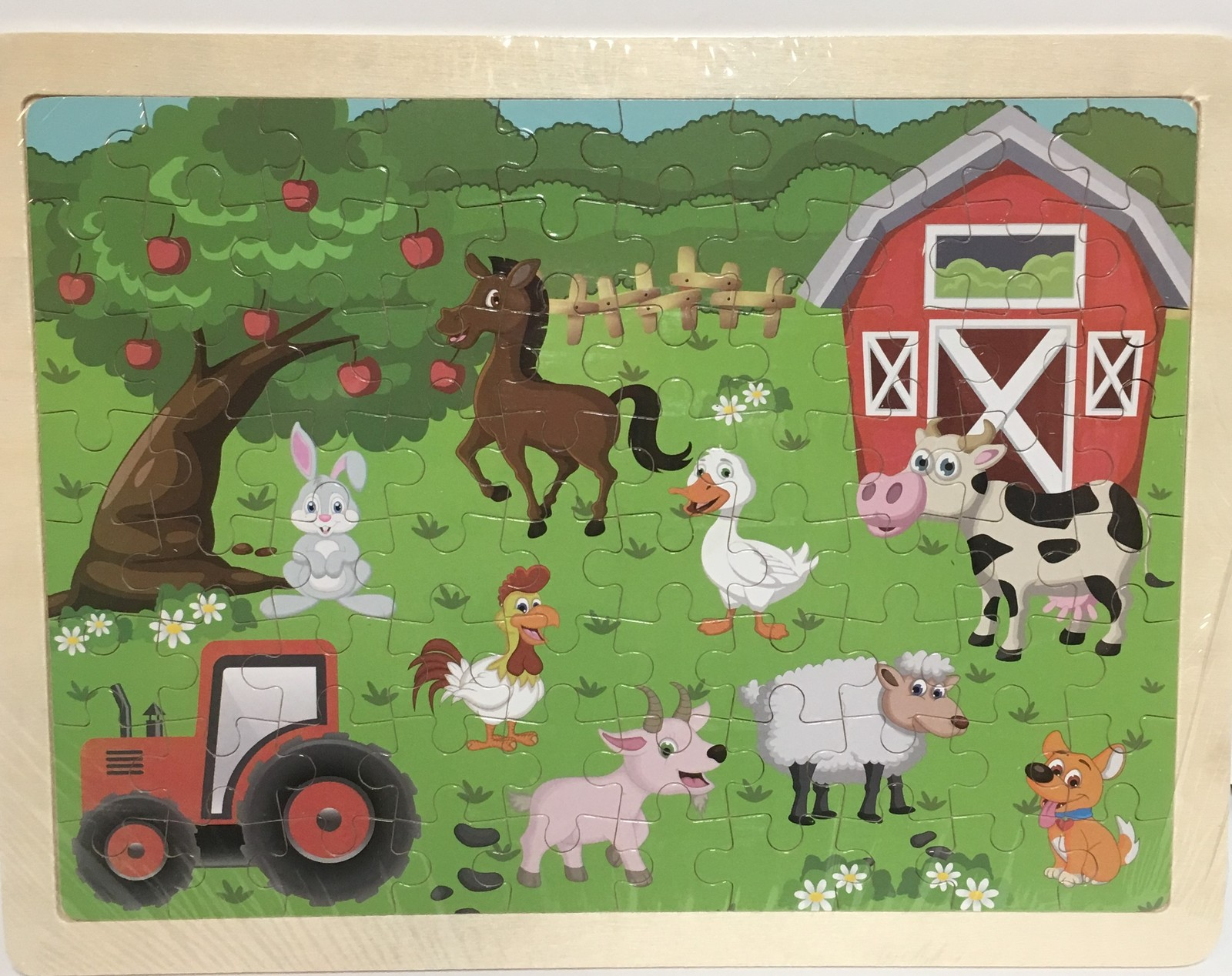 """Hands Craft Wood Frame Farm Animals Jigsaw Puzzle 80 Piece 9"""" x 12"""" Ages 5+ image 2"""