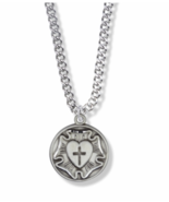 ROUND STERLING SILVER DIAMOND ENGRAVED LUTHERAN ROSE MEDAL NECKLACE AND ... - $66.49