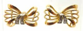 18k Gold Retro Genuine Natural Diamond Bow Post Earrings (#3550) - $384.75