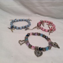 NEW Set of 3 Beaded Fairy and Heart Bracelets