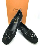 TOD'S Italian Leather Slip On Tassel Loafers in Black Suede US SZ 6 - BRAND NEW! - $225.00
