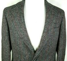Harris Tweed Sport Coat Size 40 Regular by John Weitz Blue Gray 100% Woo... - $59.35