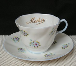 "Vintage QUEENS ROSINA China TEA CUP & SAUCER Blue Floral ""MOTHER"" Centen... - $14.54"