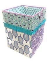 Bacati Isabella Girls Paisley Fabric Collapsible Hamper, Lilac/Purple/Aqua - $50.57