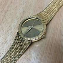 Vintage Swiss Parts Mens 18k Gold Plated Mesh analog Quartz Watch Hours~... - $26.59