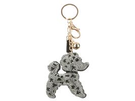 Poodle Tassel Bling Faux Suede Stuffed Pillow Key Chain Handbag Charm - $12.95