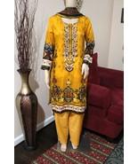 Pakistani Dark Yellow Printed Straight Shirt 3-PC Lawn Suit w/ Threadwor... - $54.45