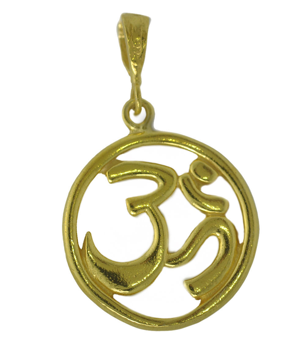 NICE New HINDU OM 24K Yellow Gold Plated PENDANT Charm Jewelry DETAILED Jewelry