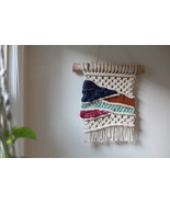 Macrame Wall Hanging in Multicolored Wool, Velvet, and Cotton - $60.00