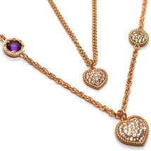 """REBECCA BRONZE ROSE LONG NECKLACE 31.5"""", DOUBLE CHAIN, HEART DISC, B14KRA38 image 2"""