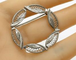 925 Sterling Silver - Vintage Lace Leaf Wreath Detail Brooch Pin - BP1454 - $32.78