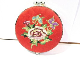 CHINESE RED SILK CASE EMBROIDERED FLOWER BUTTERFLY DESIGN TRAVEL PURSE M... - $14.00