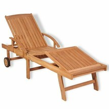 vidaXL Teak Wood Sunlounger Outdoor Garden Patio Daybed Recliner Chaise ... - $161.99