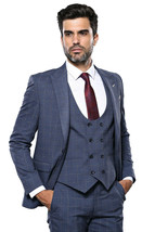 Men Three Piece Suit WESSI by J.VALINTIN Extra Slim Fit JV33 Navy Window... - $179.95