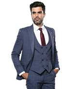 Men Three Piece Suit WESSI by J.VALINTIN Extra Slim Fit JV33 Navy Window... - $99.97