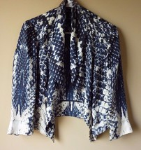 "INC International Concepts Womens S Small Black Blue Wrap Cardigan 3/4"" ... - $22.49"