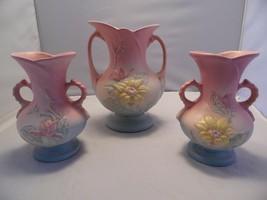 "HULL ART POTTERY Lot of 3 Pink Blue Magnolia Vases Vintage (2) 6.25"" & (... - $48.51"