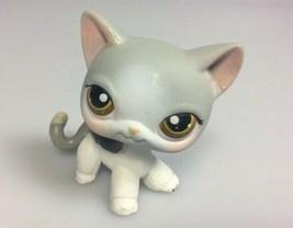 Littlest Pet Shop cat LPS 138 kitty Gray Grey White Green Eyes OOAK - $20.51