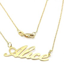 18K YELLOW GOLD NAME NECKLACE, ALICE, AVAILABLE ANY NAME, MADE IN ITALY image 1