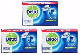 3 X Dettol ACTIVE Anti-Bacterial Hygiene Hand and Body Bar Soap 12H 105g... - $9.99