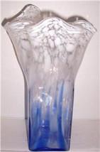Murano Handblown Hankerchief Style Cobalt Blue & Milk White Confetti Sty... - $97.99