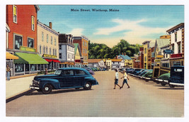 1930-1945 Main Street Winthrop ME Linen Era View Tichnor Cars Buildings ... - $6.39