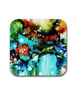 Rubber coasters set of 4, Design 90 aqua blue green abstract by L.Dumas - $11.99