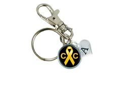 Custom Childhood Cancer Awareness Ribbon Key Chain Initial Family Charm Gift - $10.44
